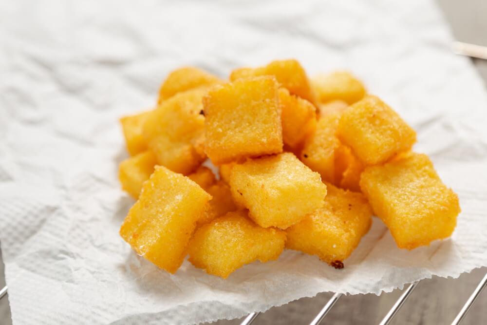 Italian Meal Fried Polenta Showing in Cubes